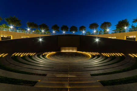 Modern amphitheater like as ancient theater at night Stock fotó