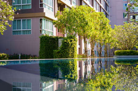 Reflection in the pool water. Luxury resort in summer Banque d'images