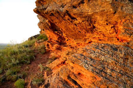 Rock erosion. Weathered of ground and stones. Geological formations. Zdjęcie Seryjne