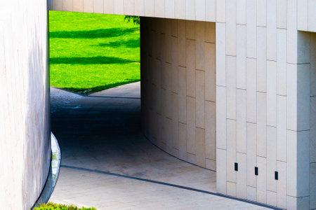 Minimal modern geometric architecture shape in city.