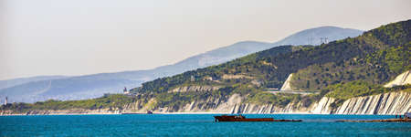 A coastal overlook of Black sea in summertime. Panoramic view