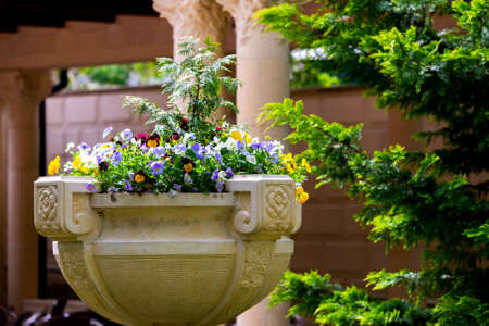 Stone Flower container or pot with pansies flowers.
