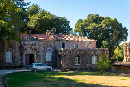 Portugal, Sintra, October 04, 2018: The car is parked next to a wonderful stone house.