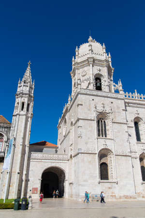 Lisbon, Portugal, October 08, 2018: Jeronimos monastery or Mosteiro dos Jeronimos, Lisbon Portugal