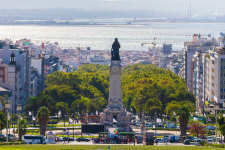 Portugal, Lisbon, October 09, 2018: Back view of Statue from Marques de Pombal in center of city.