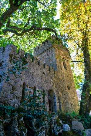 View of the tower in the park of Quinta da Regaleira. Principal tourist attraction of Sintra, Portugal.