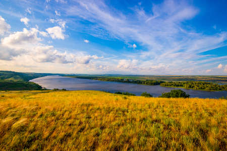 View of steppe and upper area river Don in Russia. 免版税图像