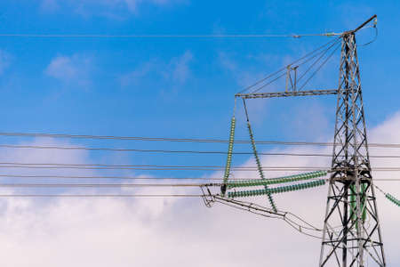 Power Transmission Line. Insulation and switches in a power plant Stock Photo