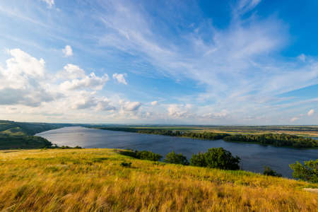 View of steppe and upper area river Don in Russia. Zdjęcie Seryjne