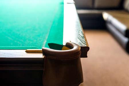Pit of corner table snooker. Hole on billiard table. Zdjęcie Seryjne