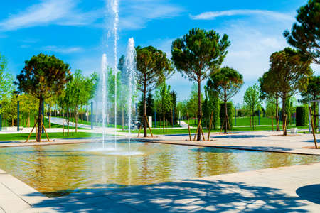 Park with a modern fountain in the city on a summer day.
