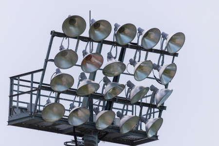 Stadium lights turn off at day time, Football stadium lights.