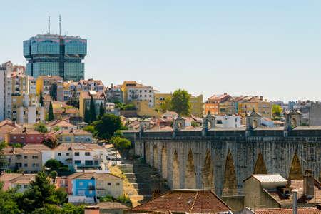 The Aqueduct Aguas Livres in Portuguese: Aqueduto das Aguas Livres Aqueduct of the Free Waters is a historic aqueduct in the city of Lisbon, Portugal. Stock Photo