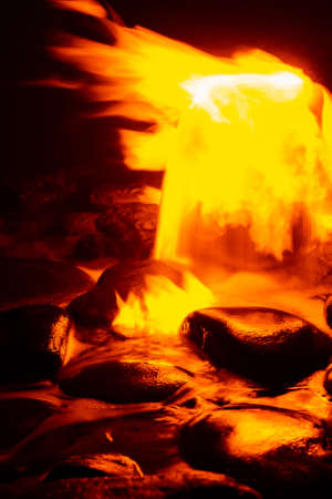 Spring of fire water. Burning methane in water. Cold fire. 版權商用圖片