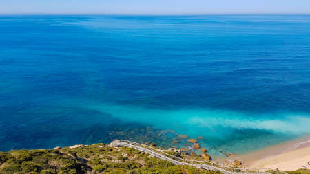 Beautiful landscape. Top view to amazing Atlantic Ocean shore. Wonderful view with azure clear water.