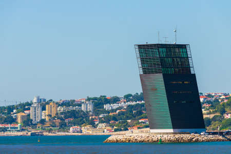 Portugal, Lisbon, October 08, 2018: Maritime Traffic Control Tower, port control tower at river Tagus in Lisbon. 新聞圖片
