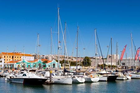Portugal, Lisbon, October 08, 2018: Marina in the Belem neighborhood on the river Tagus Lisbon. 版權商用圖片