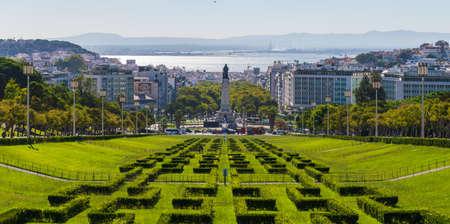 Portugal, Lisbon, October 09, 2018: Eduardo VII Park in center of Lisbon, Portugal 新聞圖片