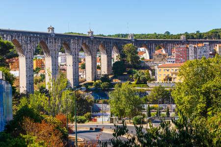 Portugal, Lisbon, October 09, 2018: Ancient Lisbon Aqueduct in captal of Portugal.