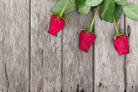 Three red roses on wooden background with space for text, top view photo