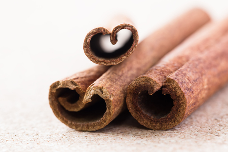 corkwood: Three cinnamon sticks on corkwood background. Space for text.