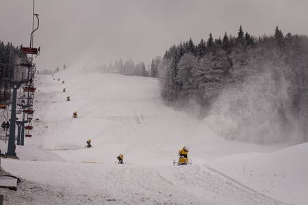 Snow cannons, which are on the ski run and produce snow. ski resort