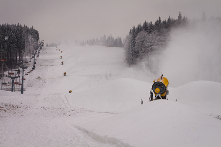 ski resort: Snow cannons, which are on the ski run and produce snow. ski resort