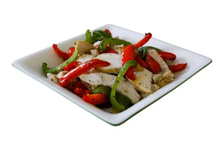 Chicken with green and red pepper salad in a square bowl on a white background - easy to isolate