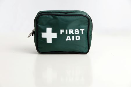 A first aid kit bag isolated on a white background. Stock Photo