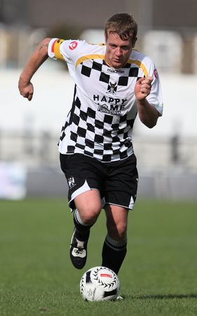 NEATH, WALES - SEPTEMBER 13: Andrew Hill of Neath is seen in action during their Welsh Premier League match against Bala Town at The Gnoll Stadium September 13, 2009 in Neath, Wales. Neath won 2-1