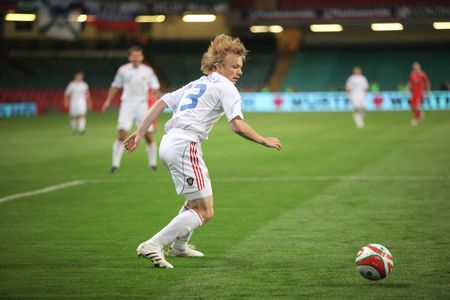 CARDIFF, WALES - SEPTEMBER 9: Renat Yanbaev of Russia is seen in action during their group 4 2010 World Cup Qualifiying match at The Millennium Stadium in Cardiff, Wales, September 09, 2009. Russia won 3-1. Stock Photo - 6896995