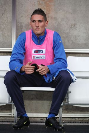 SWANSEA, WALES - SEPTEMBER 4: Federico Macheda of Italy seen on the bench during UEFA Under 21 Qualifier match against Wales at The Liberty Stadium September 4, 2009 in Swansea, Wales. Wales won 2-1