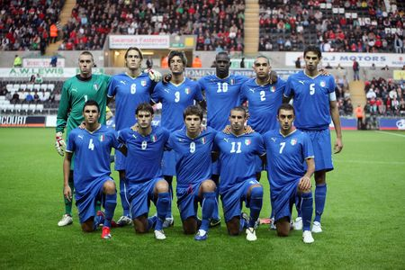 SWANSEA, WALES - SEPTEMBER 4: Italy Under 21 football team pose for photographers during UEFA Under 21 Qualifier match against Wales September 4, 2009 in Swansea, Wales. Wales won 2-1