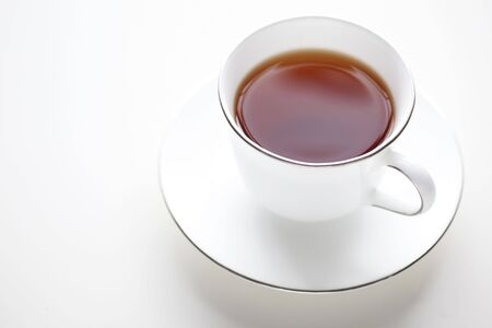 Cup of Tea on white background. Plenty of copy space.