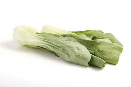 Fresh Green Bok Choy sprinkled with water Stock Photo