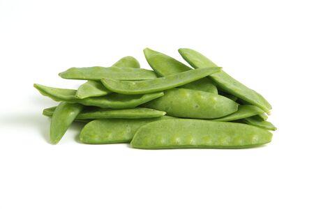 Mangetout Peas isolated on white background Standard-Bild
