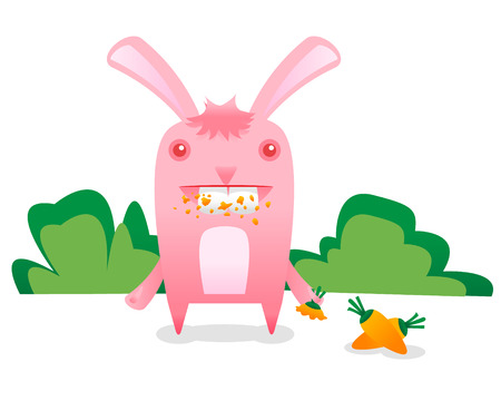 Pink bunny eating a carrot Vector