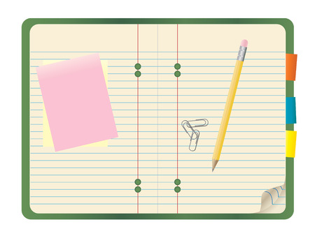 illustration of a notebook with a pencil, notepads and paper clips on top. Illustration