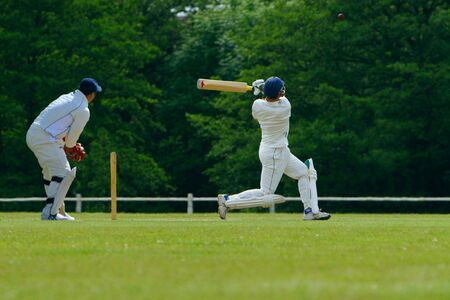 cricket stump: A cricket batsman playing a pull shot Stock Photo
