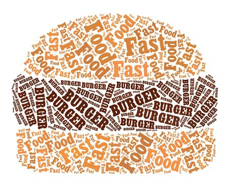 fast food restaurant: Burger text graphic and arrangement concept on white background