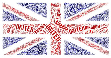 British national flag text graphic and arrangement concept on white background