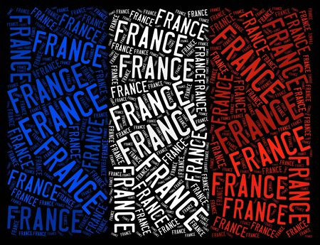 France national flag text graphic and arrangement concept on black background