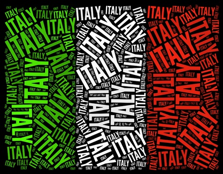 Italia bandera nacional texto gráfico y el concepto de disposición sobre fondo negro Foto de archivo