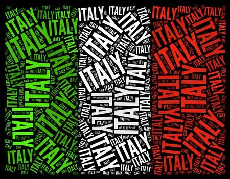 bandera italiana: Italia bandera nacional texto gráfico y el concepto de disposición sobre fondo negro Foto de archivo