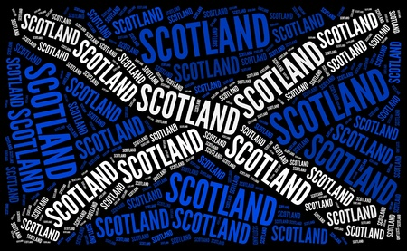 gaelic: Scotland national flag text graphic and arrangement concept on black background