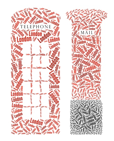 telephone booth: London Telephone Booth and Post Box text graphics and arrangement concept on white background
