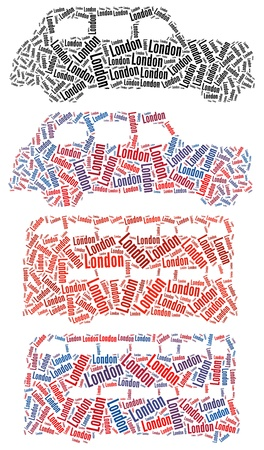 London Taxi and London Bus text graphics and arrangement concept on white background Standard-Bild