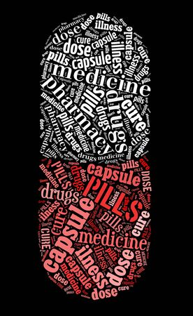 Pill capsule Symbol text graphics and arrangement concept on black background Stock Photo