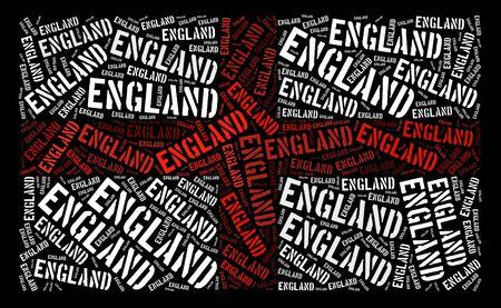 bandera de gran bretaña: Inglaterra bandera nacional texto gráfico y el concepto de disposición sobre fondo negro Foto de archivo