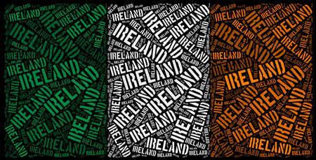 Ireland national flag text graphic and arrangement concept on black background